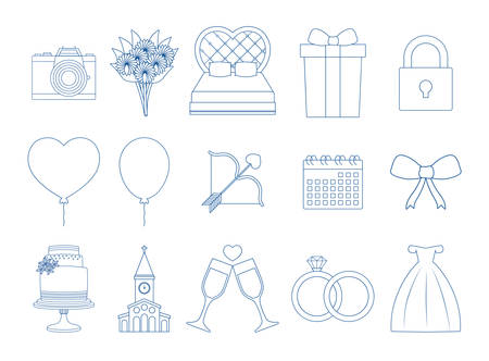 Icon set of wedding concept over white background, vector illustration