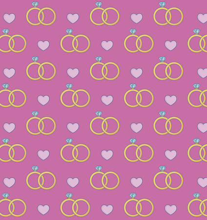 engagement rings and hearts background, colorful design. vector illustration