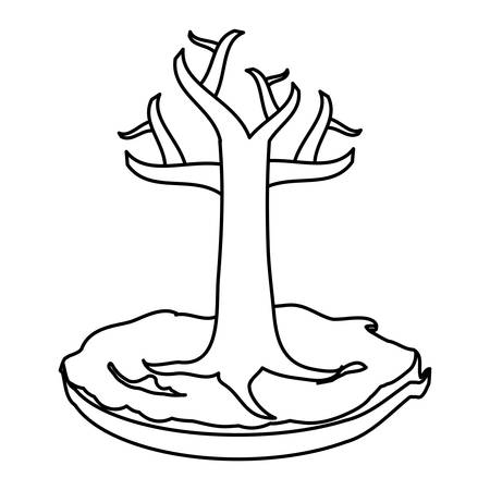 dry tree icon over white background, vector illustration