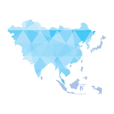 Asia map icon over white background, vector illustration