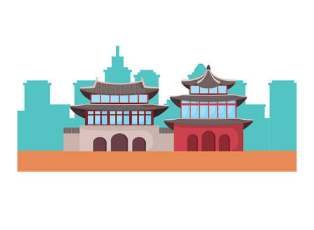 South korea iconic buildings icon over white background, vector illustration Illustration