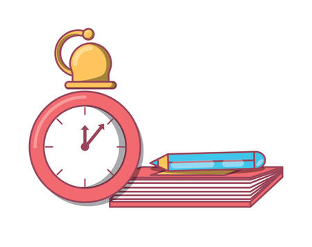chronometer with book and pencil icon over white background, vector illustration