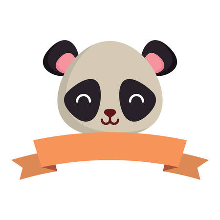 decorative ribbon with cute panda bear icon over white background, vector illustration Иллюстрация