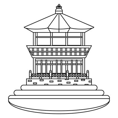 South korea design with Gyeongbok Palace icon over white background, vector illustration