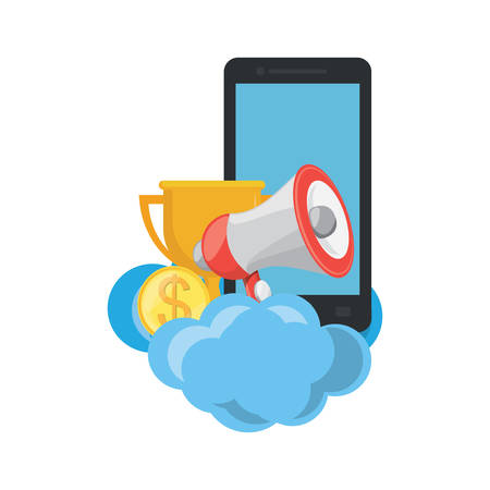 cloud with cellphone and megaphone over white background, vector illustration