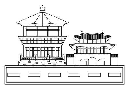 Gyeongbok Palace  and iconic building icon over white background, vector illustration