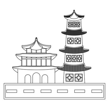 south korea design with seoul tower and palace icon over white background, vector illustration