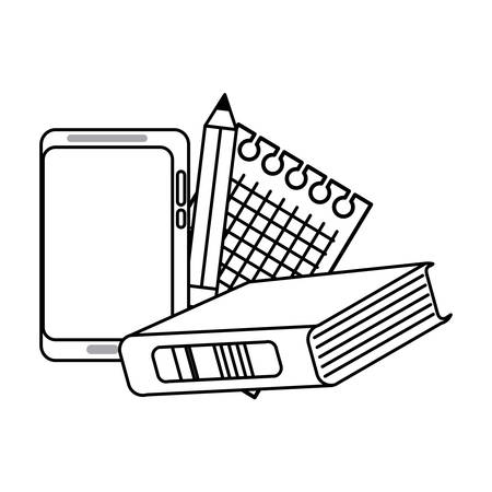 book with cellphone and pencil icon over white background, vector illustration Ilustração