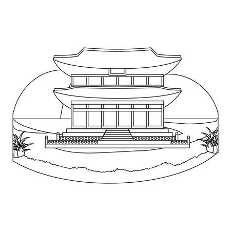 Landscape with South korea iconic building icon over white background, vector illustration
