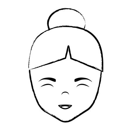 Asian woman face icon over white background, vector illustration