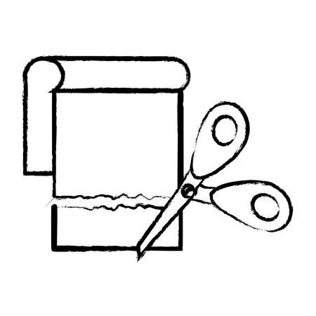 Scissors Cutting Paper icon over white background, vector illustration Illustration