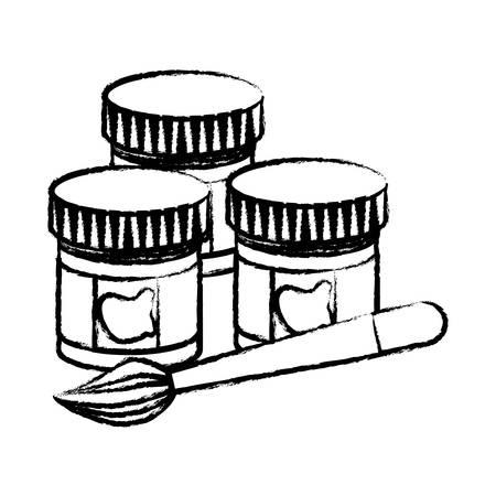 paint jars and brush icon over white background, vector illustration Ilustração