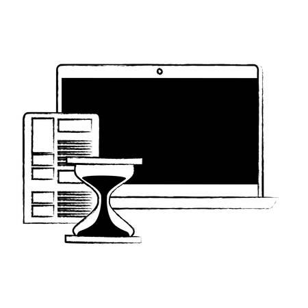Laptop comptuer with hourglass and document over white background, vector illustration