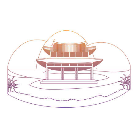 south korea iconic palace icon over white background, vector illustration