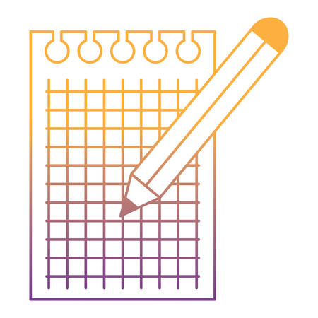paper note and colored pencil icon over white background, vector illustration