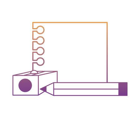 Papel de nota con lápiz y sacapuntas icono sobre fondo blanco, ilustración vectorial