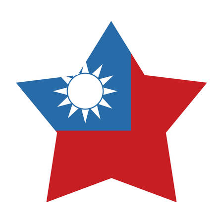 Taiwan flag in star shape over white background, vector illustration