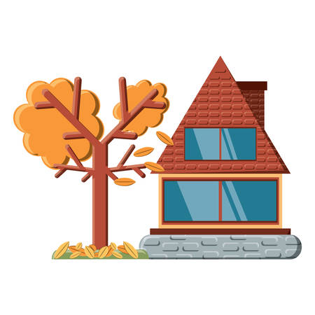 cabin house and dry trees icon over white background, vector illustration 矢量图像