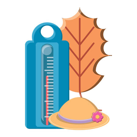 thermometer with dry leaf and hat icon over white background, vector illustration Illustration