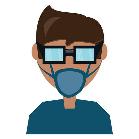 Man with medical mask and glasses over white background, vector illustration