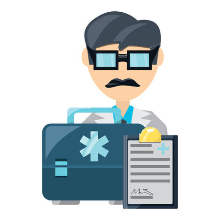doctor man with medical report and first aid kit over white background, vector illustration Çizim