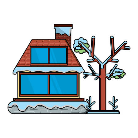 cabin house with snow and tree icon over white background, vector illustration