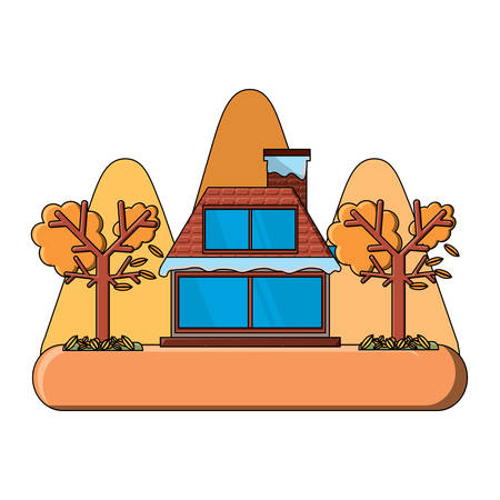 cabin house and dry trees icon over white background, vector illustration Stock Illustratie