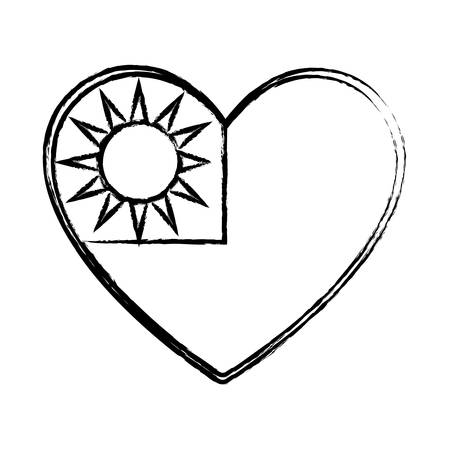 Heart with taiwan flag design over white background, vector illustration