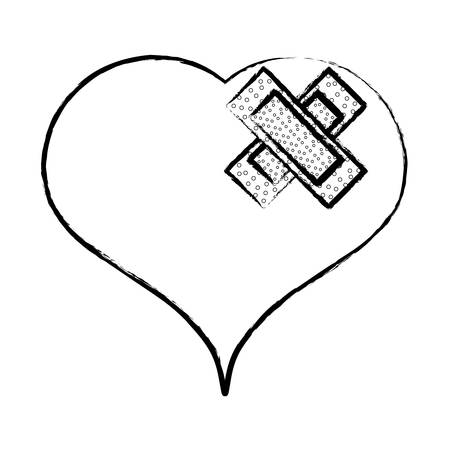heart with band aids over white background, vector illustration Stock Illustratie