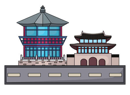 street with South korea iconic buildings icon over white background, vector illustration