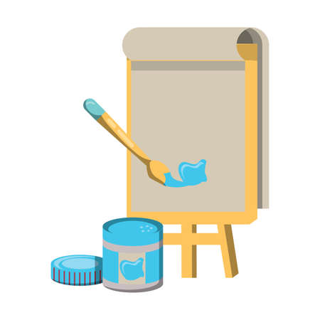 board with paint jar and brush icon over white background, vector illustration