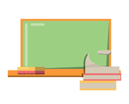 books and school board icon over white background, vector illustration