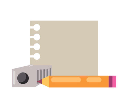 note paper with pencil and sharpener icon over white background, vector illustration