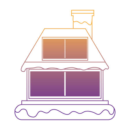 wooden house covered with snow icon over white background, vector illustration