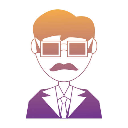 doctor man with glasses and mustache over white background, vector illustration