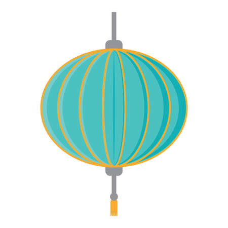 decorative Chinese lantern icon over white background, vector illustration