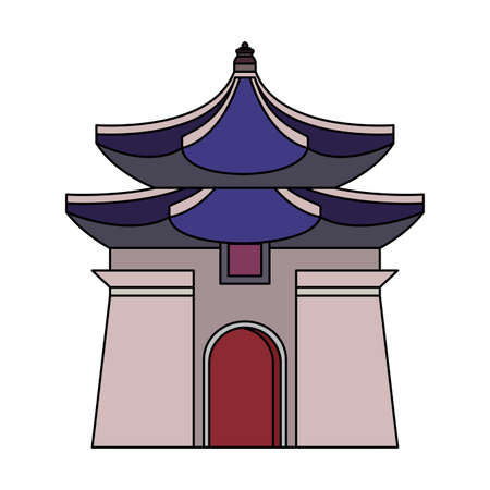 The Chiang Kai Shek Memorial Hall icon over white background, vector illustration