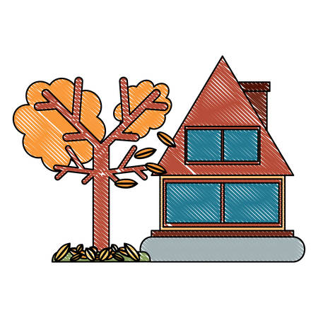 cabin house and dry trees icon over white background, vector illustration Illustration