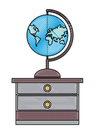 drawer with geography tool icon over white background, vector illustration
