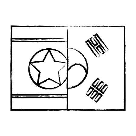 Half flag of  South Korea and half flag of North Korea over white background, vector illustration Foto de archivo - 104877331