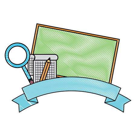 school emblem design with decorative ribbon and chalkboard over white background, vector illustration
