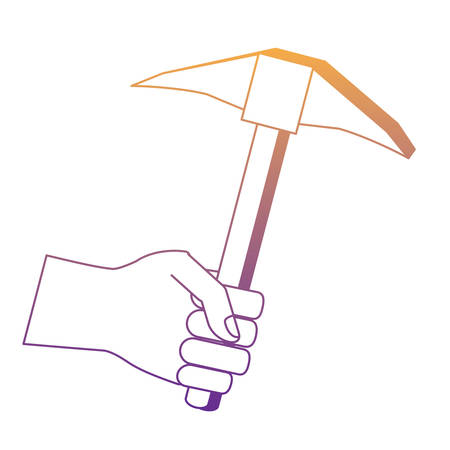 hand holding a pickaxe tool icon over white background, vector illustration
