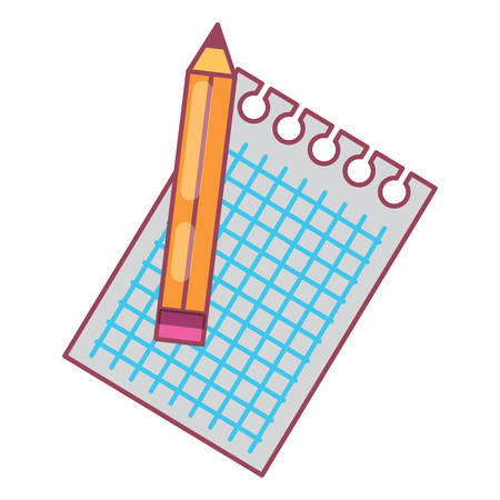 notebook sheet and pencil over white background, vector illustration