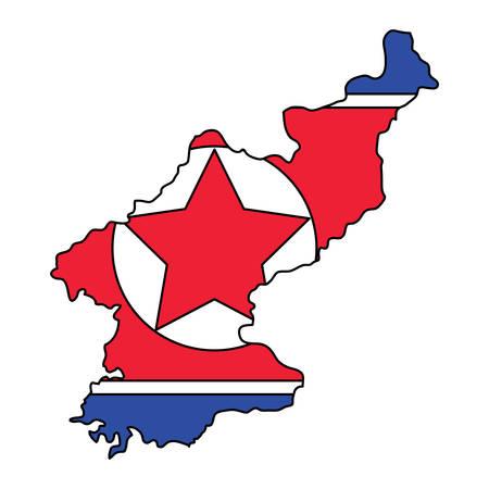 north korea flag in map shape over white background, vector illustration 向量圖像