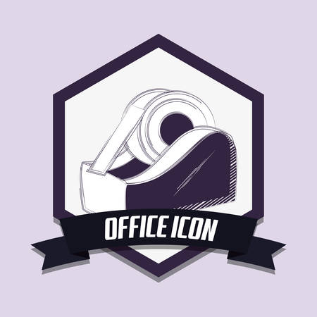 office icons emblem with tape dispenser icon over purple background, colorful design. vector illustration