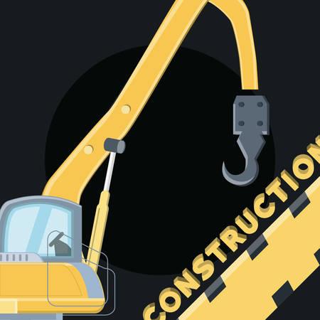 construction design with crane truck over black background, colorful design. vector illustration