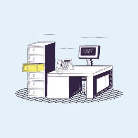 Office workplace design with desk and phone over blue background, sketch design. vector illustration