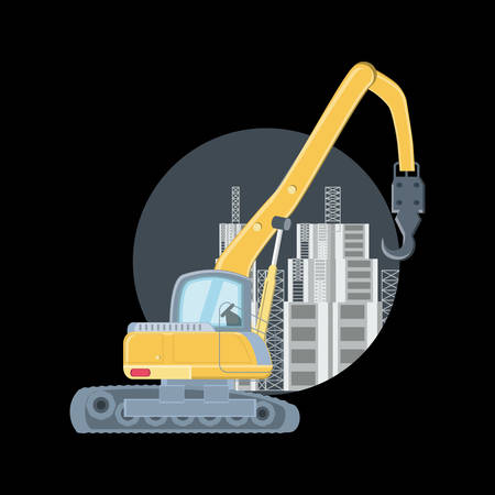 Construction structures and crane truck icon over black background, colorful design. vector illustration