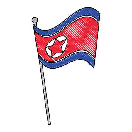 north korea flag icon over white background, vector illustration