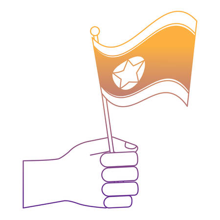 hand holding a north korea flag over white background, vector illustration